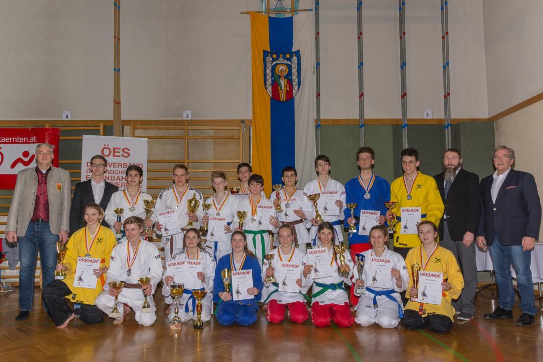 Die erfolgreichen Sportler bei den Kärntner Meisterschaften im Judo U16+U18+U21